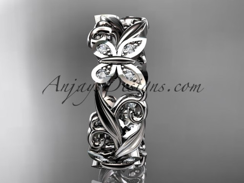 platinum diamond leaf and vine butterfly wedding ring engagement ring wedding band adlr144 - Butterfly Wedding Ring