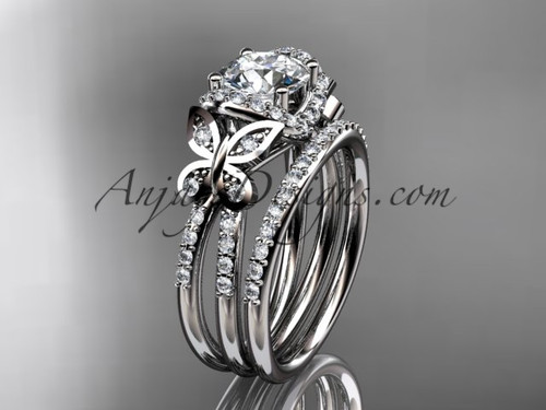 platinum diamond butterfly wedding ring engagement set adlr141s - Butterfly Wedding Ring