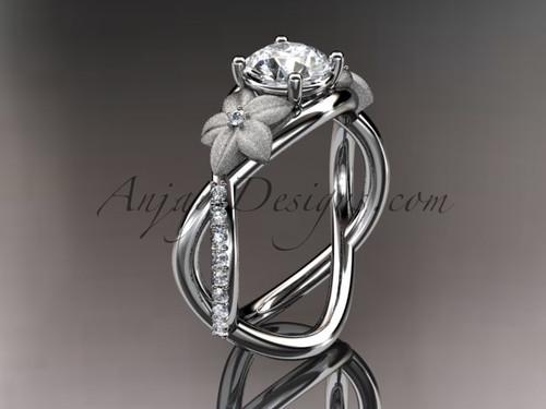 14kt white gold diamond leaf and vine birthstone ring ADLR90 White Topaz - April\'s birthstone. nature inspired jewelry