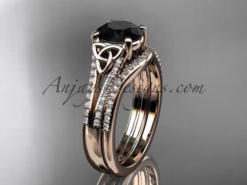 14kt rose gold celtic trinity knot engagement ring ,diamond wedding ring, engagment set with a Black Diamond center stone CT7108S
