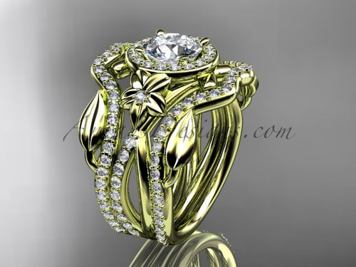 "14kt yellow gold diamond leaf and vine, flower engagement ring, wedding ring,  with  ""Forever One"" Moissanite center stone and double matching band ADLR89S"