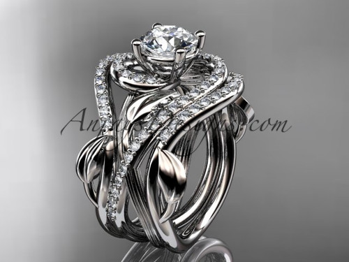 "Unique 14kt white gold diamond leaf and vine wedding ring, engagement ring with a ""Forever One"" Moissanite center stone and double matching band ADLR222S"