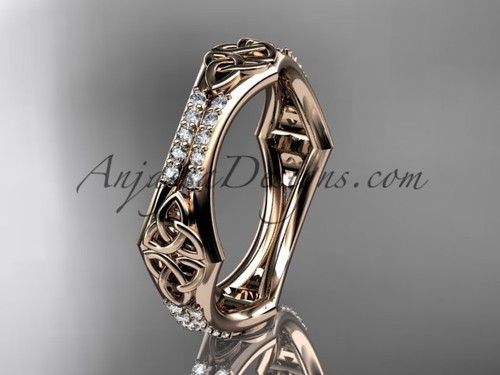 14kt Rose Gold Diamond Celtic Trinity Knot Wedding Band Triquetra Ring Engagement Ct7353b