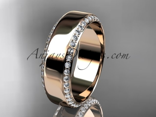 14kt rose gold classic wedding band, diamond engagement ring ADLR380B
