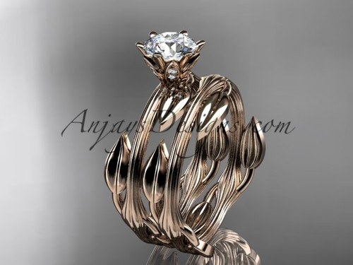 """14k rose gold leaf and vine wedding ring, engagement set with a """"Forever One"""" Moissanite center stone ADLR343S"""