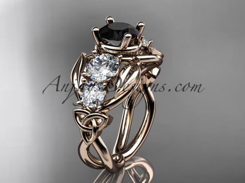 14kt Rose Gold Welsh Black Diamond Engagement Ring CT769
