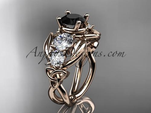 14kt Rose Gold Celtic Trinity Knot Engagement Ring Wedding With Black Diamond Center Stone