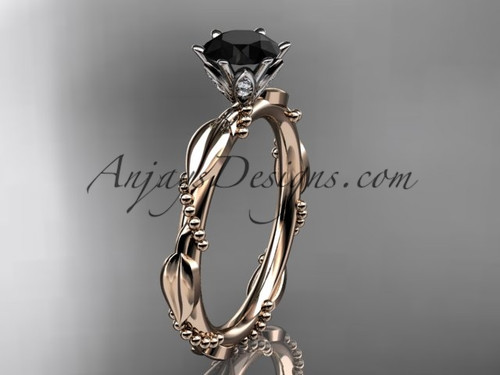 14k rose gold diamond vine and leaf wedding ring with a Black Diamond center stone ADLR178