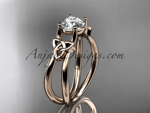 "14kt rose gold celtic trinity knot wedding ring, engagement ring with a ""Forever One"" Moissanite center stone CT7130"