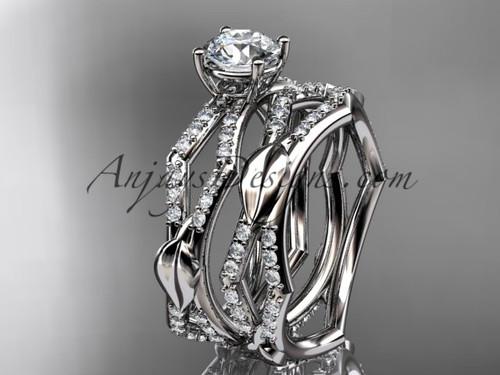 14k white gold diamond leaf and vine wedding ring, engagement set ADLR353S