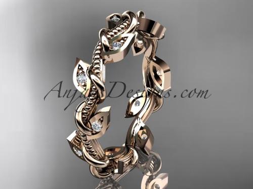 14kt rose gold diamond leaf and vine wedding ring, engagement ring, wedding band ADLR79
