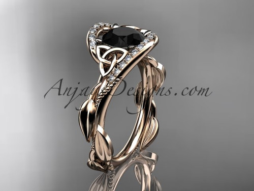 14kt rose gold celtic trinity knot engagement ring , wedding ring with Black Diamond center stone CT764