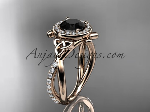 14kt rose gold celtic trinity knot engagement ring, wedding ring with a Black Diamond center stone CT789