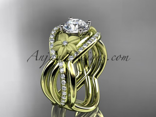 "14kt yellow gold diamond leaf and vine wedding ring, engagement ring with  ""Forever One"" Moissanite  center stone and double matching band ADLR90S"