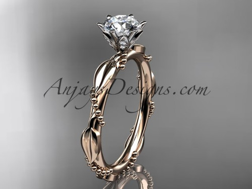 """14k rose gold diamond vine and leaf wedding ring with a """"Forever One"""" Moissanite center stone ADLR178"""