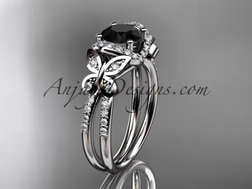 platinum diamond butterfly wedding ring, engagement ring with a Black Diamond center stone ADLR141