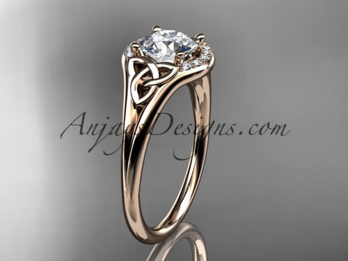 "14kt rose gold celtic trinity knot engagement ring, wedding ring with a ""Forever One"" Moissanite center stone CT791"