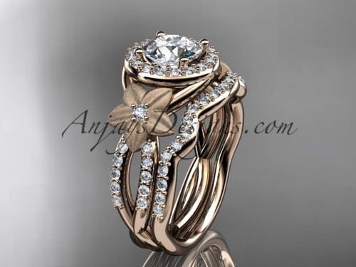 14kt rose gold  diamond floral wedding ring, engagement set ADLR127S