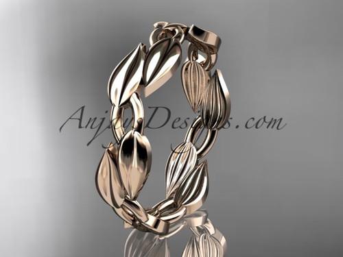 14k pink gold leaf and vine wedding band, engagement ring ADLR58G 1
