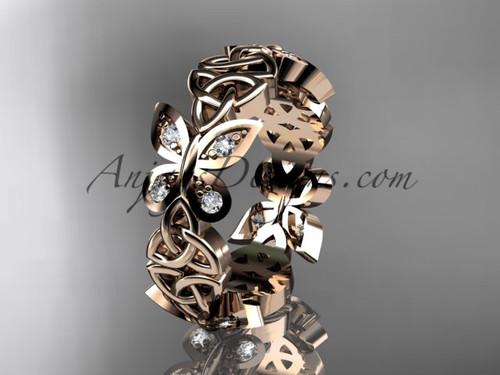 14kt rose gold diamond butterfly wedding ring engagement set