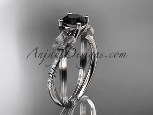 14kt white gold diamond leaf and vine wedding ring engagement ring