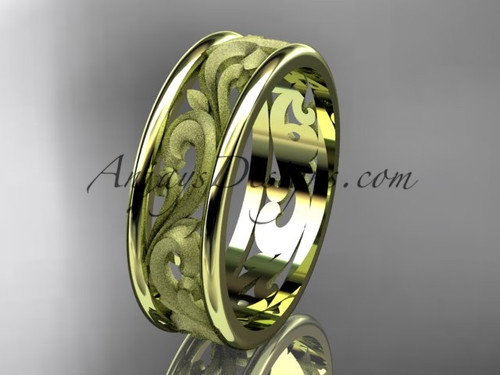 14kt yellow gold leaf engagement ring, wedding band ADLR414G