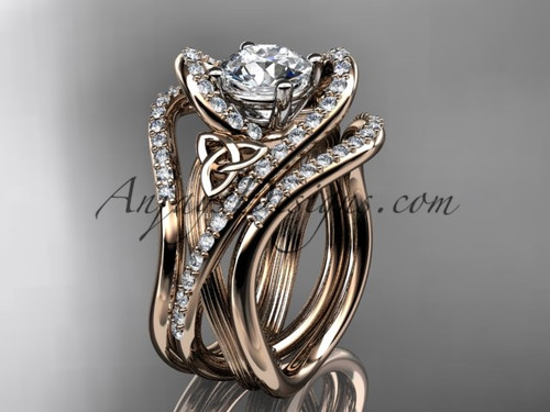 "14kt rose gold diamond celtic trinity knot wedding ring, engagement ring with a ""Forever One"" Moissanite center stone and double matching band  CT7369S"