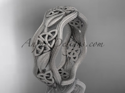 14kt white gold celtic trinity knot wedding band, matte finish wedding band, engagement ring CT7504G