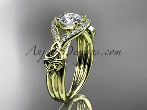 14kt yellow gold celtic trinity knot engagement ring ,diamond wedding ring CT785
