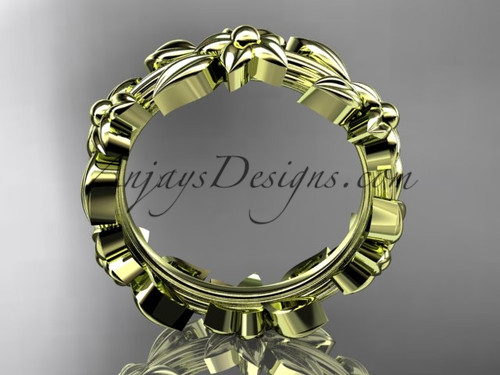 14kt yellow gold leaf wedding ringengagement ring wedding band adlr316g - Leaf Wedding Ring