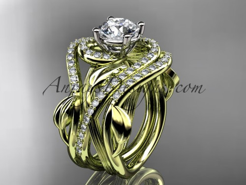 """Unique 14kt yellow gold diamond leaf and vine wedding ring, engagement ring with a """"Forever One"""" Moissanite center stone and double matching band ADLR222S"""