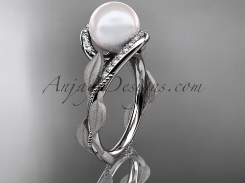 14k white gold diamond pearl vine and leaf engagement ring AP64