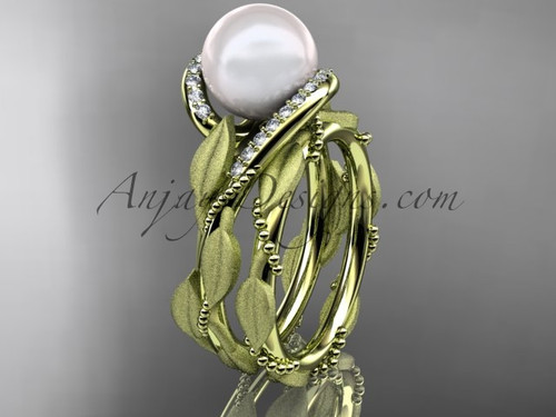 14k yellow gold diamond pearl vine and leaf engagement set AP64S
