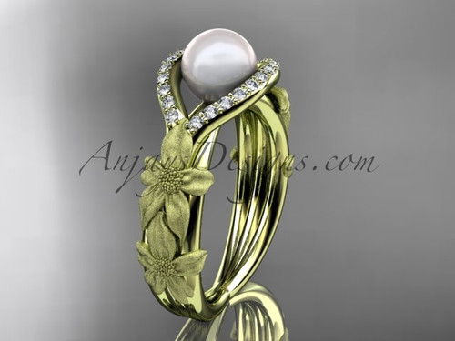 14k yellow gold diamond pearl vine and leaf engagement ring AP85