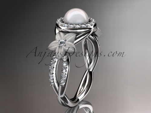 14kt white gold diamond floral wedding ring, engagement ring AP127
