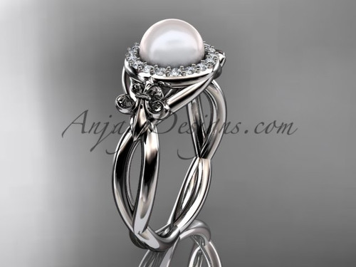 14kt white gold diamond Fleur de Lis pearl engagement ring VP10023