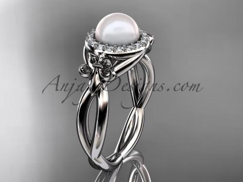 Platinum diamond Fleur de Lis pearl engagement ring VP10023