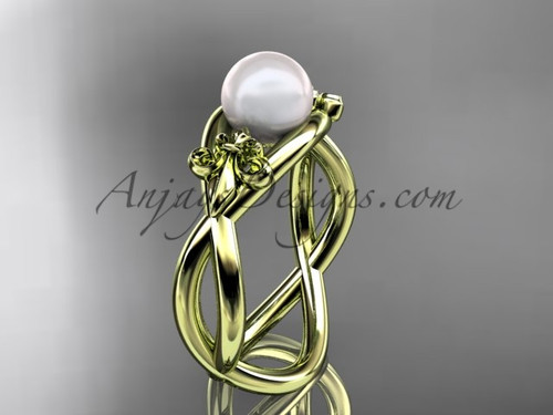 14kt yellow gold Fleur de Lis pearl engagement ring VP10024