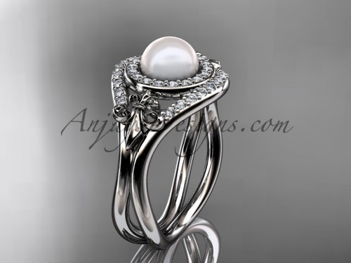 Platinum diamond Fleur de Lis pearl engagement ring VP10025