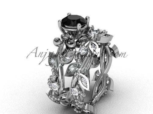 14kt white gold diamond leaf and vine, Fleur de Lis, enhanced Black Diamond engagement set VD20859S