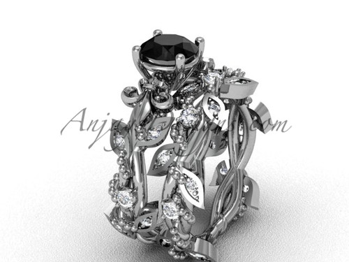 Platinum diamond leaf and vine, Fleur de Lis, enhanced Black Diamond engagement set VD20859S