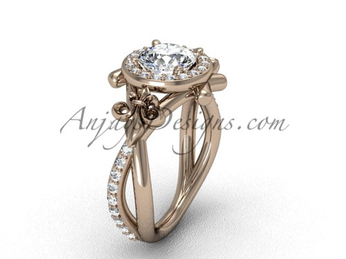 """14kt rose gold diamond Fleur de Lis, halo, eternity, """"Forever One"""" Moissanite engagement ring VD20889"""