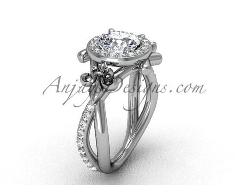 """Platinum diamond Fleur de Lis, halo, eternity, """"Forever One"""" Moissanite engagement ring VD20889"""