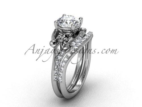 Platinum Diamond Fleur De Lis Wedding Band Eternity Engagement Ring Forever One