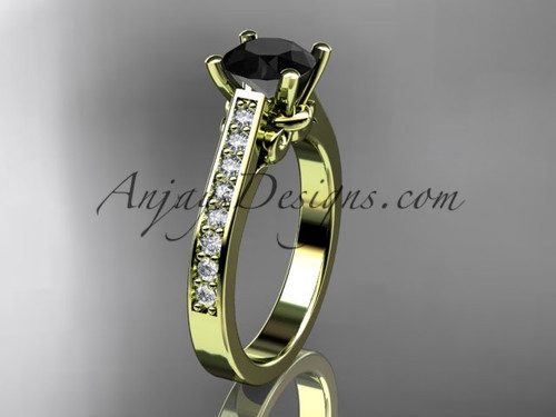 14kt yellow gold diamond unique engagement ring, wedding ring with a Black Diamond center stone ADER134