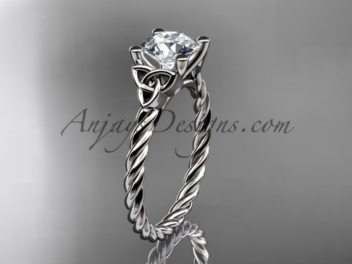 Platinum rope triquetra celtic engagement ring RPCT9116