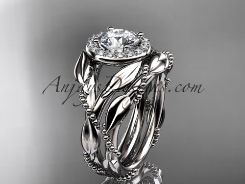 "14kt white gold diamond leaf and vine engagement set with a ""Forever One"" Moissanite center stone ADLR328S"
