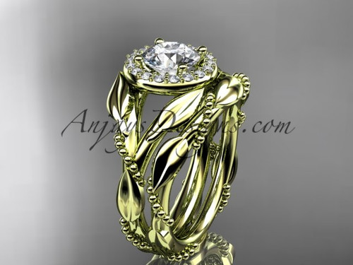 "14kt yellow gold diamond leaf and vine engagement set with a ""Forever One"" Moissanite center stone ADLR328S"