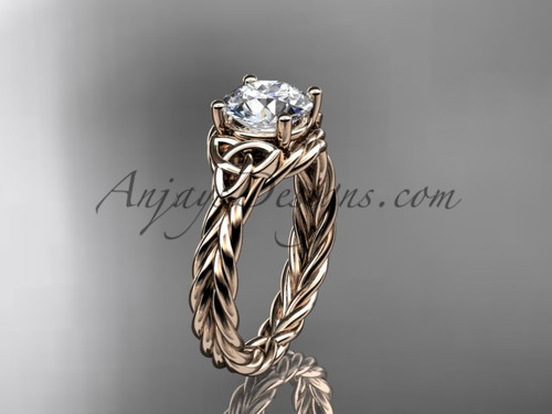 "14kt rose gold rope triquetra celtic engagement ring with a ""Forever One"" Moissanite center stone RPCT9112"