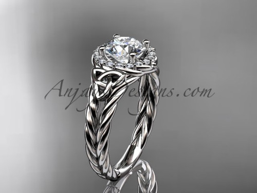 "14kt white gold halo rope celtic triquetra engagement ring with a ""Forever One"" Moissanite center stone RPCT9131"